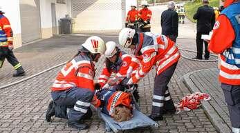 Mit vereinten Kräften meistern die Angehörigen der Achertalwehren und weiterer Rettungsorganisationen die anspruchsvolle gemeinsame Übung in Seebach.