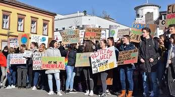 Am Freitag demonstrierten etwa 250 Jugendliche auf dem Rathausplatz für mehr Klimaschutz.