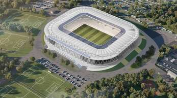 So soll das neue Wildpark-Stadion im Mai 2022 aussehen.