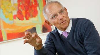 Wolfgang Schäuble während eines Interviews mit der Mittelbadischen Presse.
