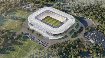 So soll das neue Stadion samt Trainingsplätzen aussehen.