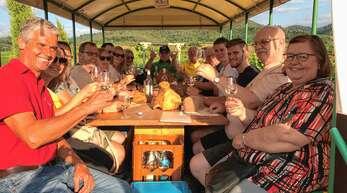 Bester Laune waren die Teilnehmer der Planwagenfahrt durch die Rammersweierer Reben. Links vorne ist Weinprobensprecher Bernhard Näger zu sehen, der viel Wissenswertes über den Weinbau vermittelte.