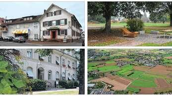 """Diese Projekte sind 2020 von Bedeutung (Bilder im Uhrzeigersinn von links oben nach links unten): das Baugebiet Ortsmitte in Elgersweier (""""Linde-Areal""""), der weitere Ausbau des Mehrgenerationenplatzes in Zunsweier, die Konzeption des neuen Offenburger Großklinikums, die für Bühl ein zentrales Thema ist, oder der """"Alte Jakob"""" in Schutterwald."""