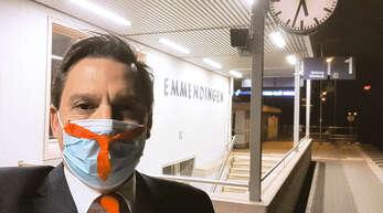 Johannes Fechner, Bundestagsabgeordneter der SPD für den Wahlkreis Emmendingen/Lahr lässt sich durch das Coronavirus vom Bahnfahren nicht abhalten.