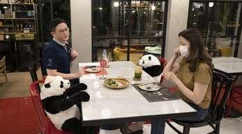 """Nein, diese Gäste im Restaurant """"Maison Saigon"""" in Bangkok haben nicht ihre Kuscheltiere mit zum Essen gebracht. Die Bären hat der Betreiber platziert. Unsere Bilderstrecke zeigt, mit welchen Ideen Gastronomen aus aller Welt für Abstand zwischen ihren Gästen sorgen wollen."""