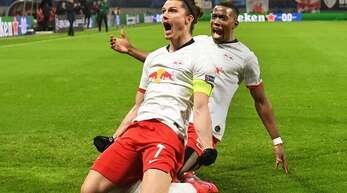 RB Leipzig um Marcel Sabitzer (vorne) steht bereits im Viertelfinale der Champions League.
