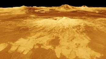 So sieht die Oberfläche der Venus auf einem Satellitenbild der Nasa aus.