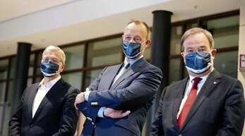 Norbert Röttgen, Friedrich Merz und Armin Laschet bei einer Diskussion mit Mitgliedern der Jungen Union
