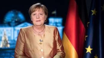 Bundeskanzlerin Angela Merkel bei der Aufzeichnung ihrer Neujahrsansprache