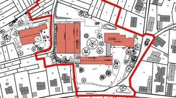 Der Übersichtsplan des Wettbewerbsgebiets für den Schul- standort Zell-Weierbach: Der obere Bereich im Westen ist noch zusätzlich erworben worden und könnte möglicherweise Platz für das Kleinspielfeld bieten.