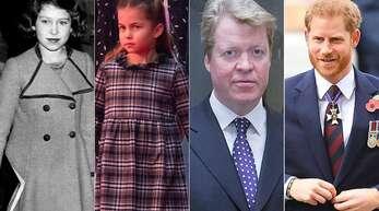 Prinzessin Charlotte sieht ihrer Urgroßmutter Queen Elizabeth II. (links als junges Mädchen) sehr ähnlich, Prinz Harry (rechts) seinem Onkel Charles Spencer.