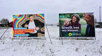 Wahlplakate von FDP und Grünen zur Landtagswahl am 14. März.