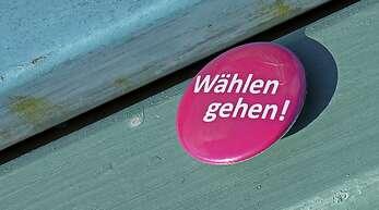 Wahlaufruf per Sticker.