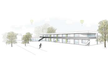 Verstärkter Einsatz von Holz: Die Visualisierung zeigt den geplanten Kindergartenneubau in Nußbach.
