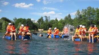Willstätter Sommerferienprogramm 2020: Floßbau am Waldsee Hesselhurst.