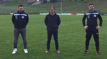 Patrik Lerch, Spielausschuss SV Nußbach, Carlo Daino und Florian Huber (v. l.), Vorstand Sport FV Bottenau, freuen sich auf die Zusammenarbeit.
