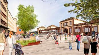 Diese Visualisierung hat die Stadt Offenburg vor einem Jahr für das künftige Bahnhofareal vorgelegt. Jetzt wurden die Rahmenbedingungen für den Wettbewerb vorgestellt.
