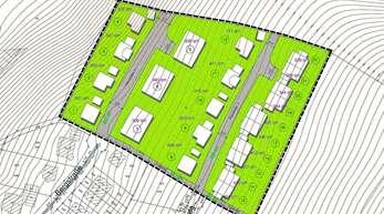 So könnte in einem ersten Entwurf die Bebauung im neuen Baugebiet Nordrach erfolgen. In der Mitte drei Mehrfamilienhäuser.