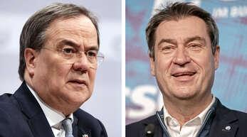 Lieferten sich in der K-Frage über eine Woche lang einen selten gesehenen Machtkampf: CDU-Chef Armin Laschet (60) und CSU-Ministerpräsident Markus Söder (54). Am Ende setzte sich Laschet (links) durch.