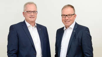 Joachim Straub (links) und Markus Dauber (rechts), die beiden Co-Vorsitzenden des sechsköpfigen Vorstands der Volksbank eG – die Gestalterbank, präsentierten am Donnerstag virtuell die Zahlen für das Geschäftsjahr 2020.