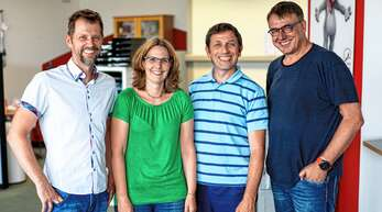 Ihre Ansprechpartner vor Ort (von links): Gabriel Riske (Geschäftsführer), Bianca Wenzel (Leitung außerklinische Intensivpflege), Jochen Weis (Pflegedienstleitung ambulante Pflege), Thomas Balzer (Geschäftsführer).