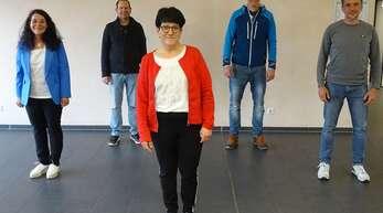 Ortsvorsteherin Pamela Otteni-Hertwig (von links) mit den neuen Vorstandsmitgliedern Thomas Steinstraß, Bettina Kohler, Manuel Ritter, Achim Hildenbrand.