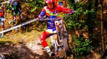 Der erst 18-jährige Joschka Kraftim italienischen Tolmezzo beim Auftakt der Motorradtrial-Weltmeisterschaft.