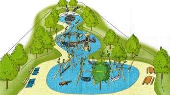 Ein erster Eindruck des geplanten Biberacher Spielplatzes. Der blaue Bereich ist übrigens kein Wasser, sondern verdeutlicht farblich die Lage der Spielgeräte.