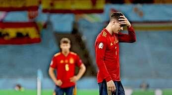 Kaum zu fassen: Alvaro Morata ist nach dem Spiel gegen Polen wieder enttäuscht, dabei hatte er die spanische Nationalmannschaft in Führung gebracht.