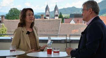 Katharina Barley sprach über den Dächern Offenburgs mit Matthias Katsch über die aktuelle Europapolitik.