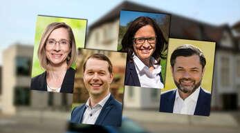 Von den Hohberger Bürgermeister-Kandidaten steigen aus: Daniela Bühler (links) und Simone Lenenbach (Dritte von links). Machen weiter: Marco Gutmann (Zweiter von links) und Andreas Heck.