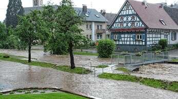2016 hieß es nach starken Regenfällen Land unter in Ebersweier.
