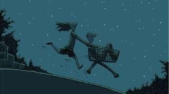 """Übermütig tollt Asta mit Ringo und einem Einkaufswagen durch die Nacht. Tagsüber auf der Theaterbühne ist sie eher gehemmt. Blick aufs Cover von Judith Burgers Buch """"Ringo, ich und ein komplett ahnungsloser Sommer""""."""