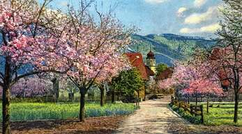 Das colorierte Bild zeigt die Kirchstraße zu früheren Zeiten noch als landwirtschaftlicher Weg.