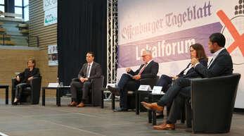 Mitten im Wahlkampf: Niederschopfheim, Hohberghalle / Lokalforum OT, (von links): Daniela Bühler, Marco Gutmann, Moderator Wolfgang Kollmer, Simone Lenenbach und Andreas Heck.