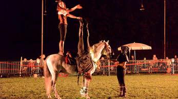 """Die Akteure von """"Horses & Heroes"""" boten den Zuschauern im Reiterstadion in Legelshurst eine spektakuläre Show."""