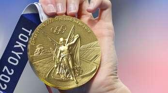 Eine Goldmedaille der olympischen Spiele in Tokio.