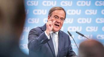 Armin Laschet, Kanzlerkandidat der Union, CDU-Bundesvorsitzender und Ministerpräsident von Nordrhein-Westfalen, spricht beim zentralen Wahlkampfauftakt von CDU und CSU.