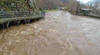 Wenn der Bach zum Fluss wird: Im Februar 2020 stieg der Pegel der Wolf zuletzt drastisch an.