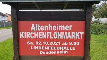 Mit diesen neu gestalteten Ortseingangsschilder werden die Aldener, Dungener und Besucher zur Zeit am Ortseingang zum Kirchenflohmarkt aufmerksam gemacht und empfangen.