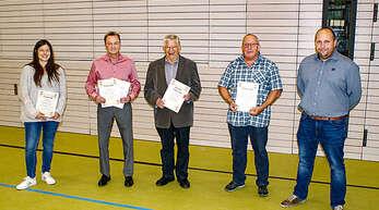 Ehrungen beim TTC Durbach (von links): Katharina Bär, Jürgen Männle, Eugen Spinner, Heinrich Rinderle und Vorsitzender Markus Rinderle.