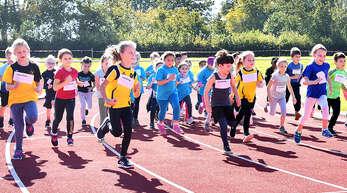 """Bei den Grundschulmeisterschaften im Schutterwälder Waldstadtion haben 132 Mädchen und Jungen teilgenommen. Die Läufer des Jahrgangs 2014 sind nach dem Start """"voll bei der Sache""""."""