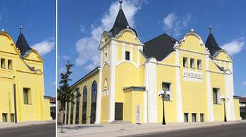 Wenn Fassadenteile und Stuckelemente der alten Stadthalle klassisch in Weiß hervorgehoben würden, würde das Gebäude schöner aussehen, finden die OT-Leser Katharina und Joachim Franz. Um dies zu unterstreichen, haben sie eine Fotomontage erstellt, wie das Gebäude aktuell (links) und mit weißer Konturierung (rechts) aussieht.