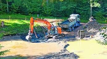 Der beliebte Herrenholz-Teich in Unterharmersbach musste ausgebaggert werden. Er lief Gefahr, nach und nach zu verlanden.