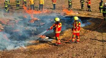 """Feuerwehrleute aus der Region probten am Sonntag in Hausach (hier auf einem Feld unterhalb des Gechbachs) mit den Ausbildern von """"@fire"""" die Bekämpfung von Wald- und Flächenbränden."""