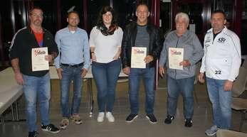 Ehrungen beim KSV Haslach (von links): Bernd Wallner, Luca Zorzi, Rebecca Kittler, Nico Ghita, Helmut Haug und Achim Stiffel