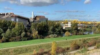 Blick vom Auenheimer Lärmschutzwall auf das Stahlwerk. Direkt dahinter will eine ebenfalls im Hafen ansässige Firma eine Shredder-Anlage bauen.