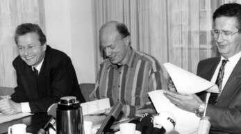 Da waren sie sich noch einig: Claus Jäger (FDP), Ralf Fücks (Grüne) und Klaus Wedemeier (SPD), die 1991 in Bremen Koalitionspartner waren.