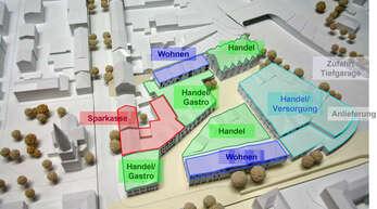 Die Grafik zeigt die Pläne für das Einkaufszentrum an der nördlichen Hauptstraße. Die Stadt ist noch mit der Bearbeitung der Einwendungen beschäftigt.