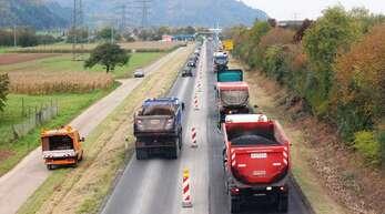 Die Ausbauarbeiten an der B33 zwischen Offenburg und Gengenbach im Jahr 2010.